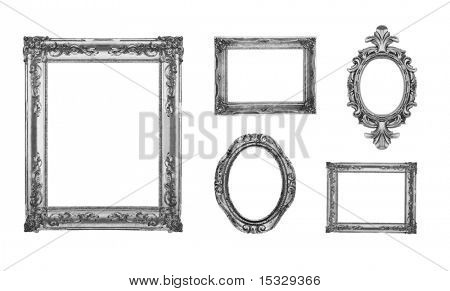 Vintage silver ornate frames, some chipped and rusty