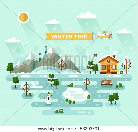 Flat design vector nature winter landscape illustration with house, pond, snowman, bench, sun, mountains, birds, clouds, trees, snow, snowflakes, snowfall, snowdrift. Airplane with banner. Winter time