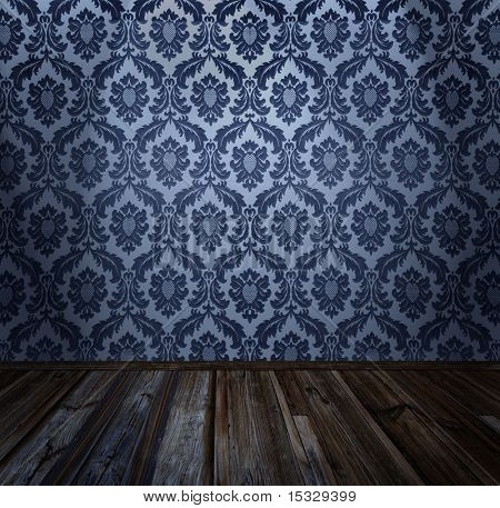 Room interior - vintage wallpaper, wooden floor