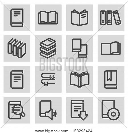Vector black line book icons set on grey background