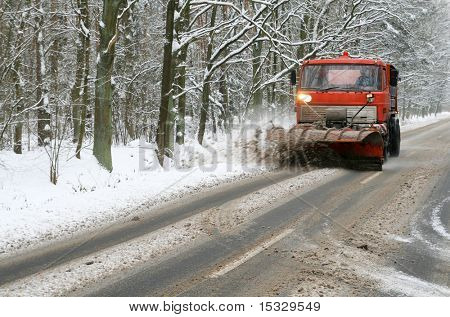 Snowplow on the road