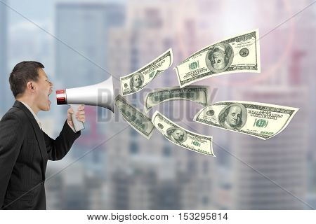 Man Hold Megaphone With Dollar Bills Spraying Out