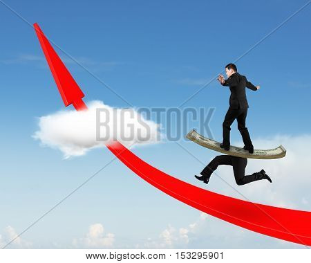 Man Balancing Running Money Legs On Red Arrow Up