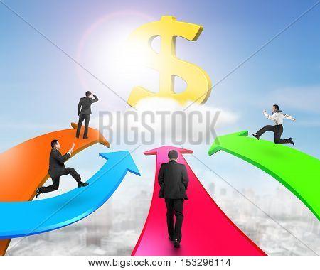 Men On Four Color Arrows Go Toward Golden Dollar Sign