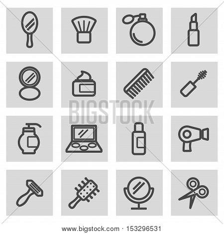Vector black line cosmetics icons set on grey background