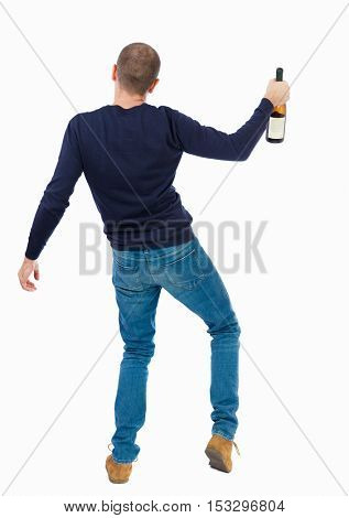Back view of drunk man with  bottle of wine. drinking young guy. Rear view people collection.  backside view of person.  Isolated over white background.