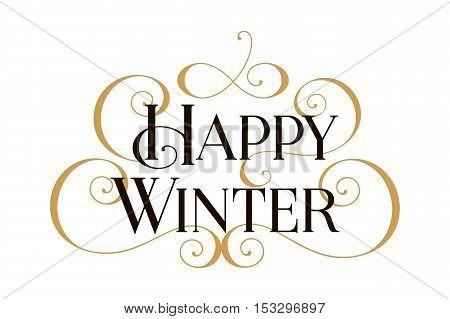 Winter, Happy Winter, Happy Winter card, Happy Winter banner, Happy Winter text, Happy Winter vector, Winter card, Winter cards, Winter invitation, Winter banner, text Winter, Winter Art, Winter Gold