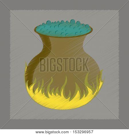 flat shading style icon of potion cauldron