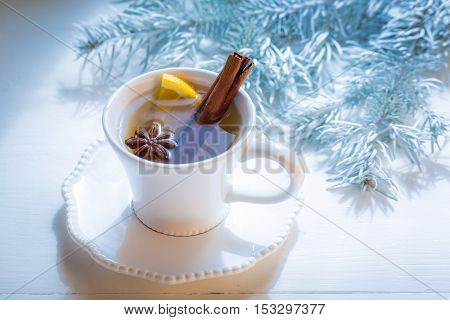Tasty and sweet tea with cinnamon for Christmas