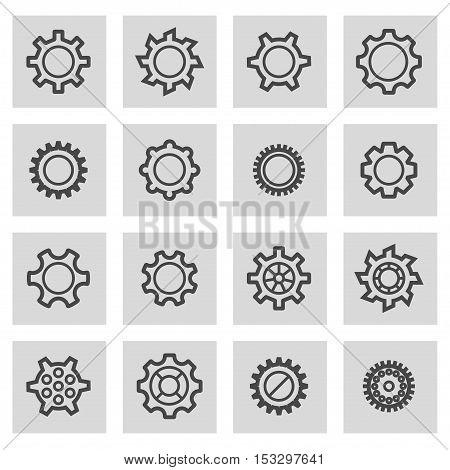 Vector black line gear icons set on grey background