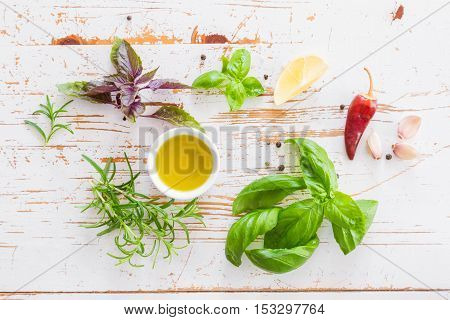 Selection of fresh herbs and spices, copy space