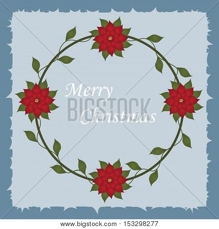 Beautiful Christmas decorative frame with Christmas flowers in a circle on a blue background. Pattern to decorate greeting cards. vector illustration