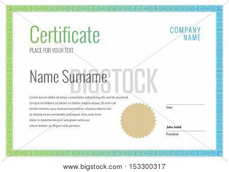 Certificate. Template diplomas currency. Award background Gift voucher. Vector