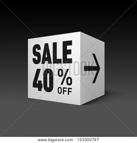 Cube Banner Template for Holiday Sale Event. Forty Percent off Discount