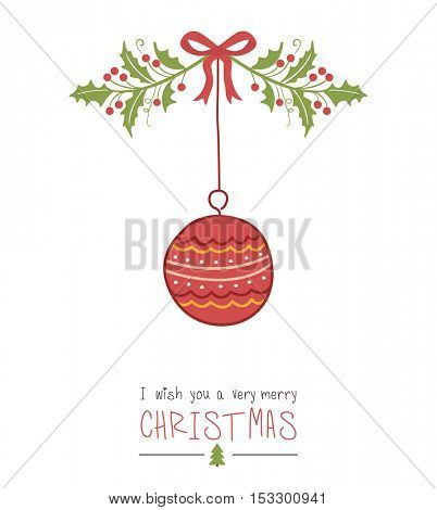 Hand drawn Christmas ball  vector. Happy new year illustration.