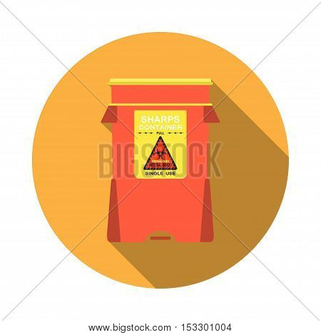 Biohazard - vector isolated icon of sharps container with shadow on the yellow background.