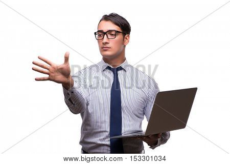 Man with laptop isolated on white