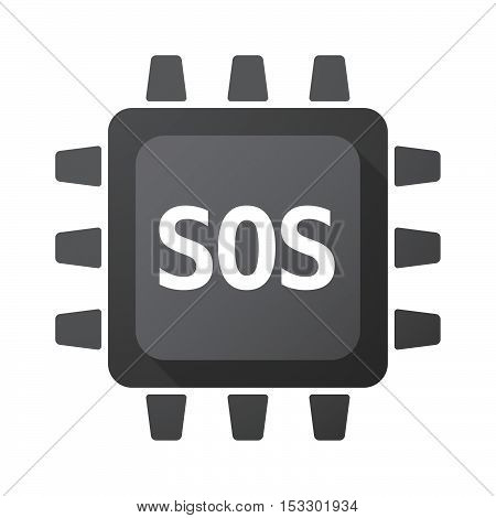 Isolated Central Processing Unit Icon With    The Text Sos