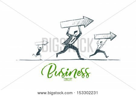 Vector hand drawn business concept sketch. Business people running and carrying indicators meaning progress and development in business. Lettering Business concept
