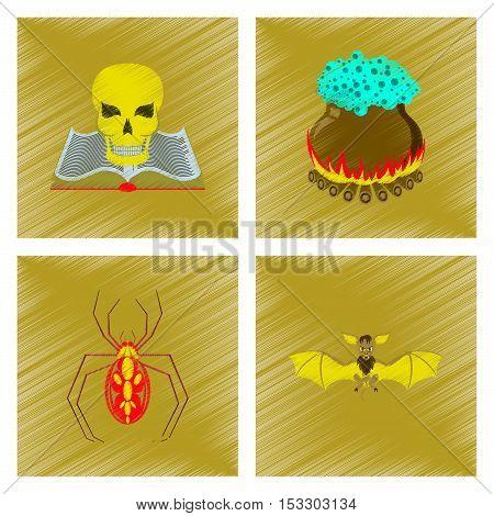 assembly flat shading style icon of book skull potion cauldron spider bat
