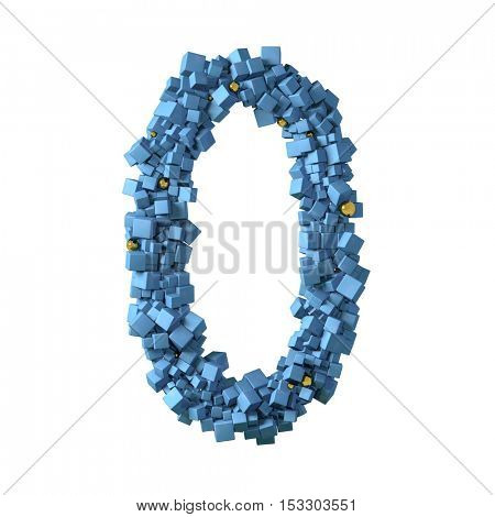 blue numbers from cubes, 0, zero, nil, 3d illustration