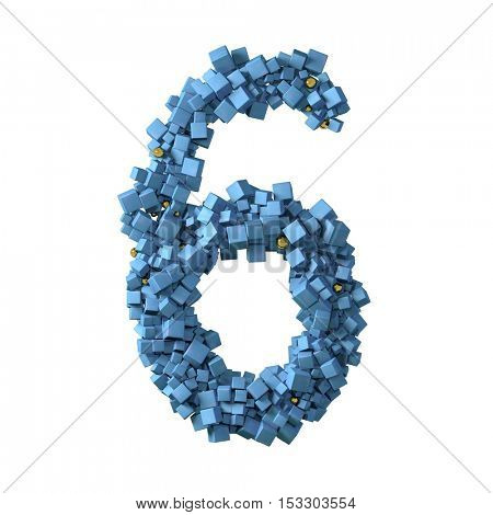 blue numbers from cubes, 6, six, 3d illustration