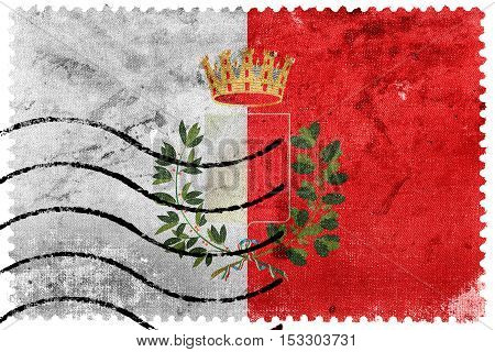 Flag Of Bari With Coat Of Arms, Italy, Old Postage Stamp