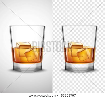 Scotch whisky glasses set with alcohol and ice cubes 2 realistic  banners with transparent background isolated vector illustration