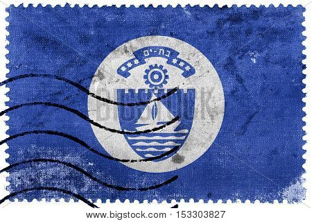Flag Of Bat Yam, Israel, Old Postage Stamp
