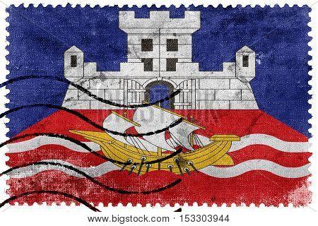 Flag Of Belgrade, Serbia, Old Postage Stamp
