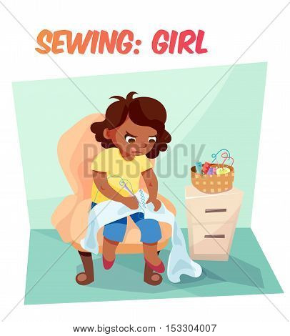 Little african american girl sewing something in armchair. Children hobby illustration. Flat cartoon style about kids.