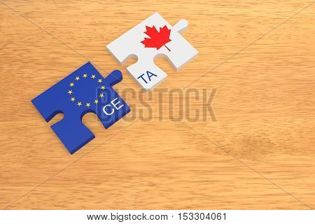 CETA: EU and Canada Flag Puzzle Pieces On Wood 3d illustration