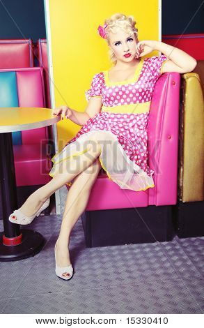 Pin up girl at a retro cafe similar available in my portfolio