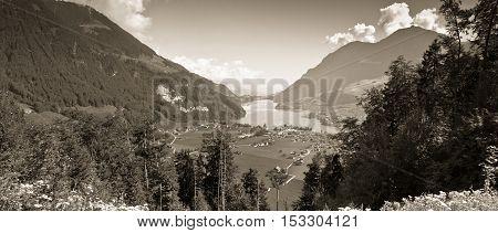 Lungern village in Switzerland - Sepia toned image