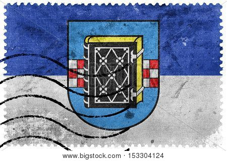 Flag Of Bochum With Coat Of Arms, Germany, Old Postage Stamp