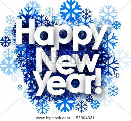 Happy New Year white background with blue snowflakes. Vector illustration.