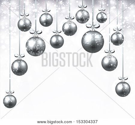 New Year background with silver Christmas balls. Vector illustration.
