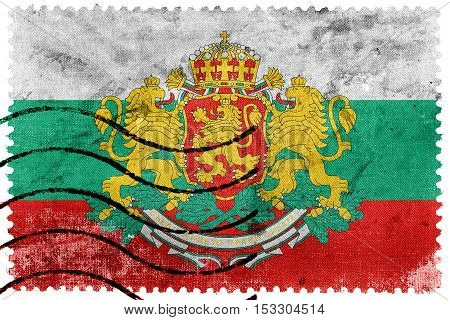 Flag Of Bulgaria With Coat Of Arms, Old Postage Stamp