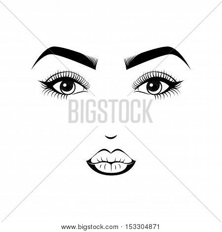 Female Lips, Eyes and Eyebrows. Beauty Industry Design Elements Vector Illustration