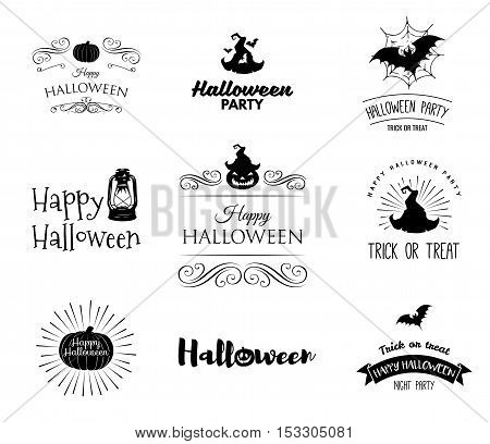 Halloween party invitation label templates with holiday symbols - witch hat, bat, pumpkin, ghost, web. Halloween. Badges set Use for party posters, flyers, cards, invitations, design. Happy Halloween