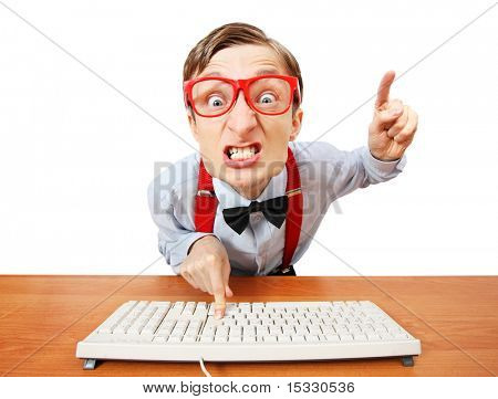 Furious office worker