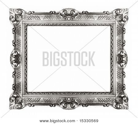 antique silver frame isolated