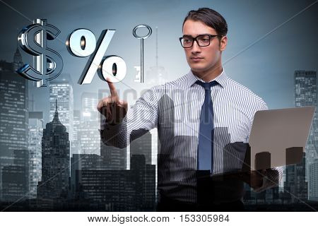 Young businessman in mortgage concept