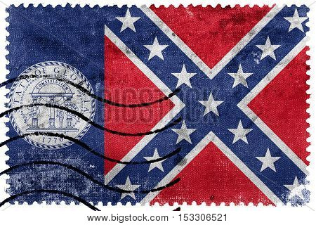 Flag Of Georgia State (1956-2001), Usa, Old Postage Stamp