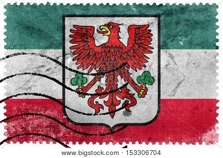 Flag Of Gorzow Wielkopolski With Coat Of Arms, Poland, Old Postage Stamp