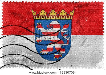 Flag Of Hesse With Coat Of Arms, Germany, Old Postage Stamp