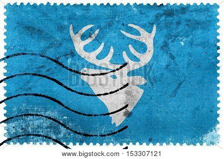 Flag Of Hitra, Norway, Old Postage Stamp