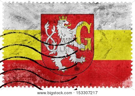 Flag Of Hradec Kralove With Coat Of Arms, Czechia, Old Postage Stamp