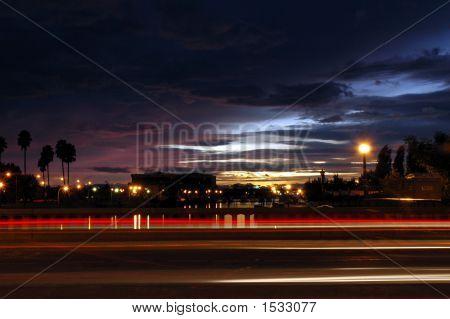 Traffic Light Streaks At Sunset