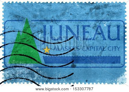 Flag Of Juneau, Alaska, Usa, Old Postage Stamp